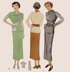 1930s Style 4pc Side Button Blouse Belt Scarf and Slim Skirt Set Custom Made in Your Size From a Vintage Pattern