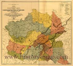 """CHEROKEE """"NATION OF"""" INDIANS ~ TERRITORIAL LIMITS MAP (by C.C. Royce 1884) of the former territorial limits- exhibiting the boundries of the various CESSIONS of land made them to the COLONIES and to the UNITED STATES - By treaty stipulations from the beginning of their relations with the whites to the date of their removal west of the Mississippi River."""