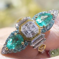 Alessio Boschi Jewels ~ Emerald, Paraiba and Diamond Ring, from the Dancing Flamingos Collection