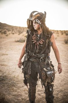 Men with steampunk and dieselpunk inspired outfit posing at Burning Man