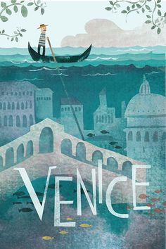 Another vintage travel poster on our list, but this one is far different from all the others. The colors and the illustrations actually make you want to go to Venice. It has been designed by Belle Lee. City Poster, Poster S, Venice Travel, Italy Travel, Spain Travel, Travel Europe, Travel Destinations, Italy Vacation, Greece Travel