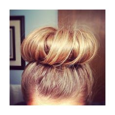 The Hair Donut/ Sock Bun ❤ liked on Polyvore featuring beauty products, haircare, hair styling tools, hair, hair style, hairstyles and pictures