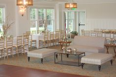 Soft seating and long tables...great layout for a wedding.