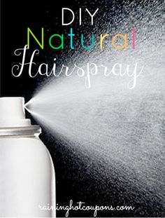DIY Natural Hairspray!  Ingredients 1 Cup of Hot Water 1 1/2 Tablespoons of Sugar (White or Brown Works) 10-15 Drops Essential Oil (Any kind will work, feel free to get creative with combinations) Empty Hair Spray Bottle (Fine Mist) Instructions Start by dissolving sugar into the hot water. Remove from heat and let cool completely. Next, fill the bottle with the essential oils you have chosen and mix well. Your hairspray should be ready to use! With this mixture a little goes a long way!