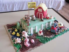 farm birthday | farm cake happy farm for one cute boy