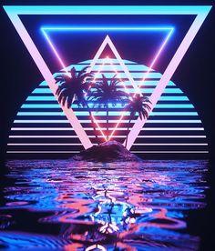Glorious neon aesthetic vaporwave art // image credit: t Vaporwave Wallpaper, Retro Kunst, Retro Art, New Retro Wave, Retro Waves, Neon Wallpaper, Wallpaper Backgrounds, Wallpaper Desktop, Cyberpunk