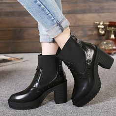 SIKETU Black Leather Ponited Toe Rivet Ankle Booties |  $9.84 Brand: SIKETU Upper Material: Leather Outsole Material: Synthetic sole Heel Height: 9 cm Color: Black Style: Rivet ponited toe ankle booties #boots #omgnb #shoe