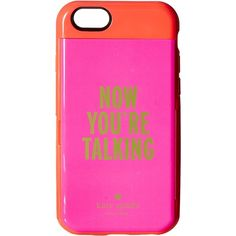 Kate Spade New York Now You'Re Talking Resin Stowaway Phone Case for... ($43) ❤ liked on Polyvore featuring accessories, tech accessories, pink and kate spade
