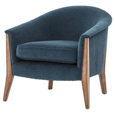 You'll fall in love with this Hellwig Barrel Chair, durable polyester upholstery and solid rubberwood legs, this chair is equally at home in the living or dining room. Blue Accent Chairs, Upholstered Accent Chairs, Blue Chairs, Velvet Chairs, Blue Armchair, Barrel Chair, Burke Decor, Large Furniture, Modern Furniture