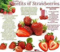 Health benefits of strawberries:  protects against heart disease, prevents blood clots and improves blood circulation. Red fruit is rich source of antioxidants which protect against cancer and other diseases. x