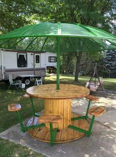 Awesome picnic table from cable spool, reclaimed wood and an old satellite dish! Awesome picnic table from cable spool, reclaimed wood and an old satellite dish! Wooden Spool Tables, Cable Spool Tables, Cable Spool Ideas, Wood Table, Spools For Tables, Wooden Cable Spools, Sewing Tables, Wood Patio, Garden Furniture