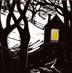 'Dusk' by Frances Carlile (linocut)
