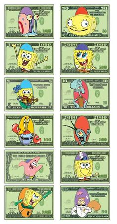 Image detail for -Printable spongebob money - Home