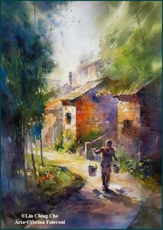 WATERCOLOR BY LIN CHING CHE. A popular Taiwanese painter with a wide variety of subjects superbly painted.