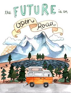 The Future is an Open Road Comforters by Brooke Weeber - Queen: x Stella Art, Framed Art Prints, Illustrations Posters, New Art, Wallpaper, Watercolor Art, Illustrators, Art Projects, Art Drawings