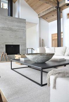 lichte kleur, mooie tafel en beton en hout