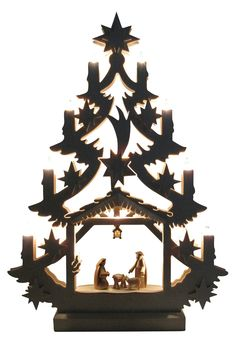Magical Christmas beauty! Nativity Scene Tree Arch-limited Edition Hand Crafted Sculpture By Michael Muller Workshop, Germany. Handmade Christmas