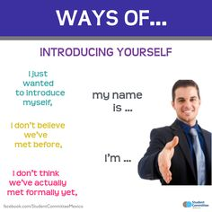Introducing yourself' WAYS OF ...        Repinned by Chesapeake College Adult Ed. We offer free classes on the Eastern Shore of MD to help you earn your GED - H.S. Diploma or Learn English (ESL) .   For GED classes contact Danielle Thomas 410-829-6043 dthomas@chesapeke.edu  For ESL classes contact Karen Luceti - 410-443-1163  Kluceti@chesapeake.edu .  www.chesapeake.edu