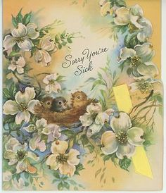 VINTAGE WHITE DOGWOOD BLOSSOMS TREE BIRDS NEST EASTERN BLUEBIRD CARD ART PRINT