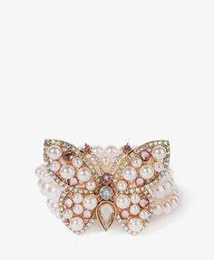 Bejeweled Butterfly Pearlescent Bracelet  $8.80