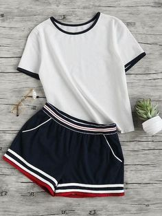 Shop Ringer Tee And Striped Waist Binding Shorts Set online. SheIn offers Ringer Tee And Striped Waist Binding Shorts Set & more to fit your fashionable needs. Sport Outfits, Trendy Outfits, Cool Outfits, Summer Outfits, Teen Fashion, Korean Fashion, Fashion Outfits, Womens Fashion, Fast Fashion