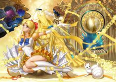superb Sailor Venus fanart -- I like the details: the chains for her attack, the seashell for Venus, and Artemis (her cat) playing with the volleyball (her favourite sport).   Minako has always been one of my favourites and on the whole she is under-utilised in the original anime, so it is interesting seeing what someone pulls out to summarise in symbols.