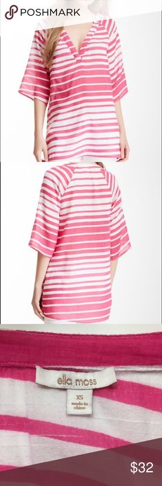 Ella Moss Tunic. Pink Stripe. V-neck. 100% cotton Ella Moss Guava Pink, Stripe Caftan. Can be worn at a tunic or coverup. The stock photos make the pink look pale but you see in mine, it's a bright pink. It's very light and airy and 100% cotton so you could dry clean for a dressy look, but I just wash and dry for a more casual style. Sleeves come to elbows. Ella Moss Tops