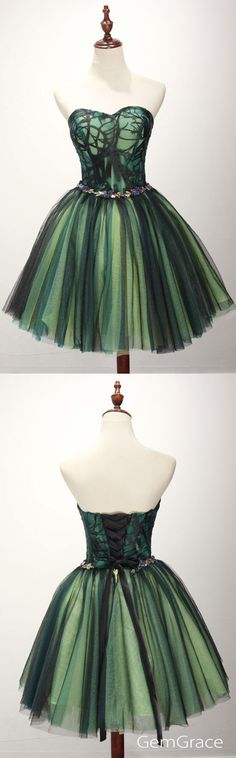 Special black and green tulle short prom dress