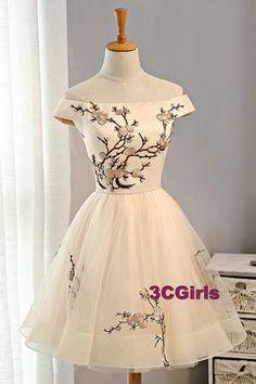 Off-shoulder prom dress, short prom dress, bridal dress