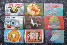 Vintage Zodiac Postcards  via Etsy.