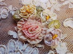 I ❤ ribbonwork ... Antique roses and angel - Parts Ribbon Work (B) of the British and French antique Eglantyne.