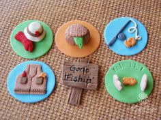 Gone Fishing Fondant Cupcake Toppers by LynleesPetiteCakes on Etsy, $38.00