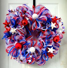 Labor Day - Patriotic Wreath - Summer Deco Mesh Wreath - 4th of July - Independence Day Wreath- Memorial Day Wreath - Welcome Military on Etsy, $69.00