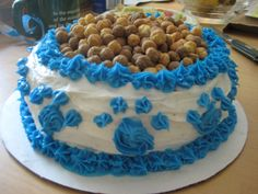 Dog bowl cake! (Reece's Peanut Butter Puffs cereal for the dog food...)
