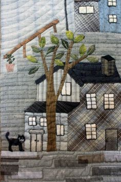 "Closeup of ""Welcome to My Neighborhood"" by Patty Henry. 2015 Boise Basin Quilters Guild show.  Design: Yoko Saito mystery quilt."