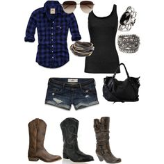 """country girl can survive"" by amandafierros on Polyvore (wish i had this outfit love the black boots)"