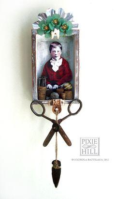 """Shrine """"Rock, Paper,Scissors"""" by Knickertwist.  Love the scissors as a decoration!"""