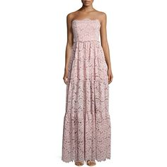 Alexis Magda Strapless Lace Maxi Dress (2.685.640 COP) ❤ liked on Polyvore