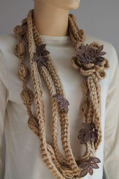 crochet Infinity scarf with flower pin
