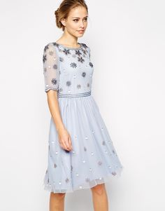 Frock and Frill Embellished Top Skater Dress With Sleeve