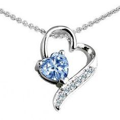 Original Star K(tm) 7mm Heart Shape Simulated Aquamarine Heart Pendant in .925 Sterling Silver:Amazon:Jewelry