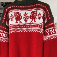 Bilderesultater for liverpool genser Liverpool Football Club, Liverpool Fc, Knitting Charts, Knitting Patterns, Filet Crochet, Knit Crochet, Christmas Sweaters, Needlework, Beautiful People