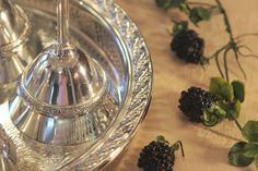 Silver Plate Gallery Tray and Silver Plate Stemware.
