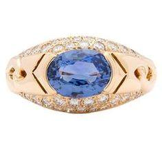 Bulgari Blue Sapphire Diamond Gold Ring