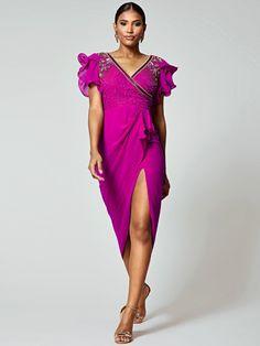 Virgos Lounge Virgos Lounge Frill Sleeve Embellished Midi Dress in Pink Pink Midi Dress, Sequin Dress, Virgos Lounge, High Leg Boots, Occasion Wear, Dress Outfits, Dresses, No Frills, Wrap Dress