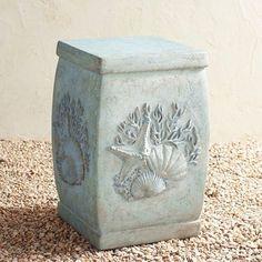 Seashell Coastal Lava Stone Garden Stool | Pier 1 Imports