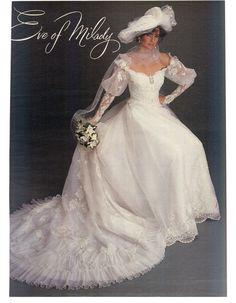 Modern Bride Feb/Mar 1984 1980s Wedding Dress, Eve Of Milady Wedding Dresses, Wedding Hats, Wedding Attire, Wedding Gowns, Vintage Gowns, Mode Vintage, Vintage Bridal, Bridal Style