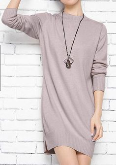 Sparsil Women's Autumn O-Neck Cashmere Blend Pullover Sweater Fashion Lady Rib Cuff Knitted Hem Split Design Knitwear Sweaters