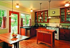 1920s Craftsman Kitchens | ... against pale olive green panels adds to the coziness of this kitchen
