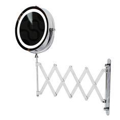 kenley extendable wall round shaving cosmetic vanity mirror led illuminated